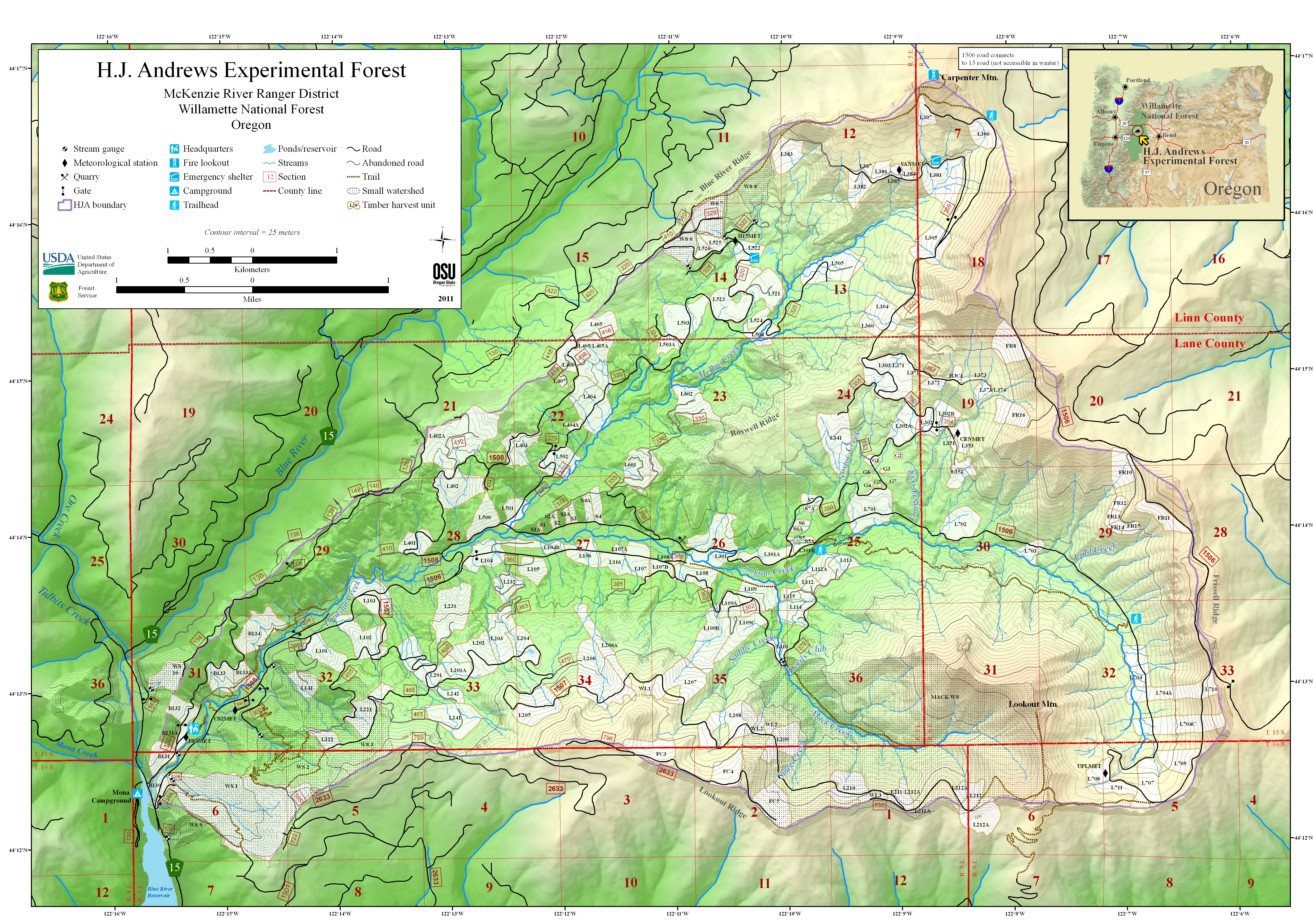 Maps | H.J. Andrews Experimental Forest - Oregon State University