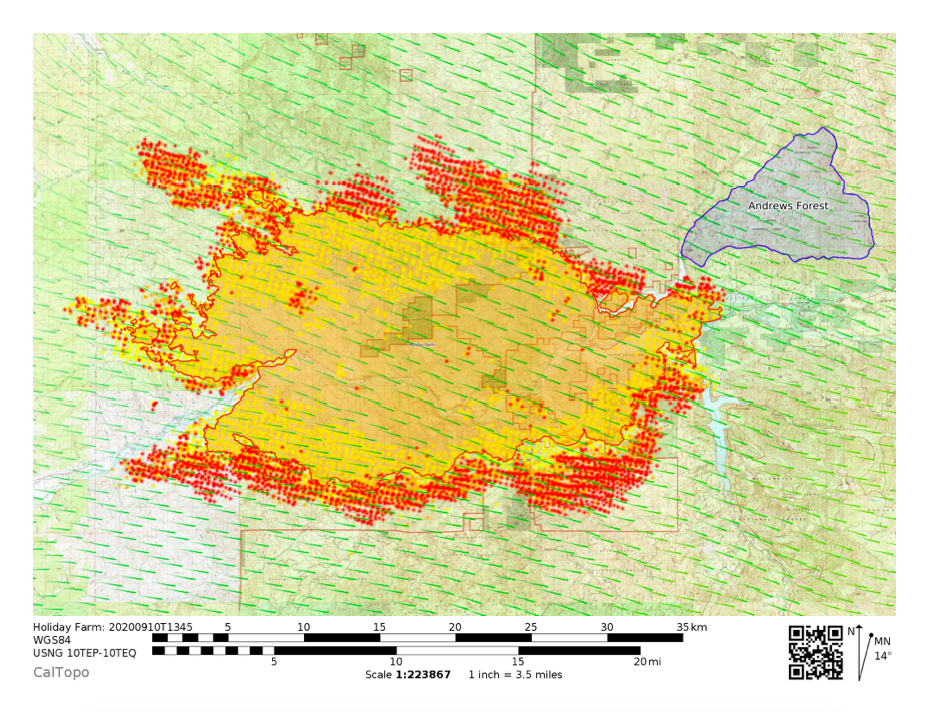 Map of Holiday Farm fire activity as of September 10, 2 PM