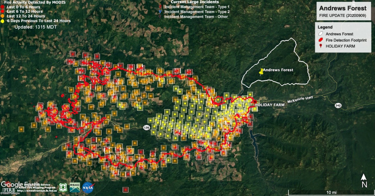 Map of fire activity as of September 9