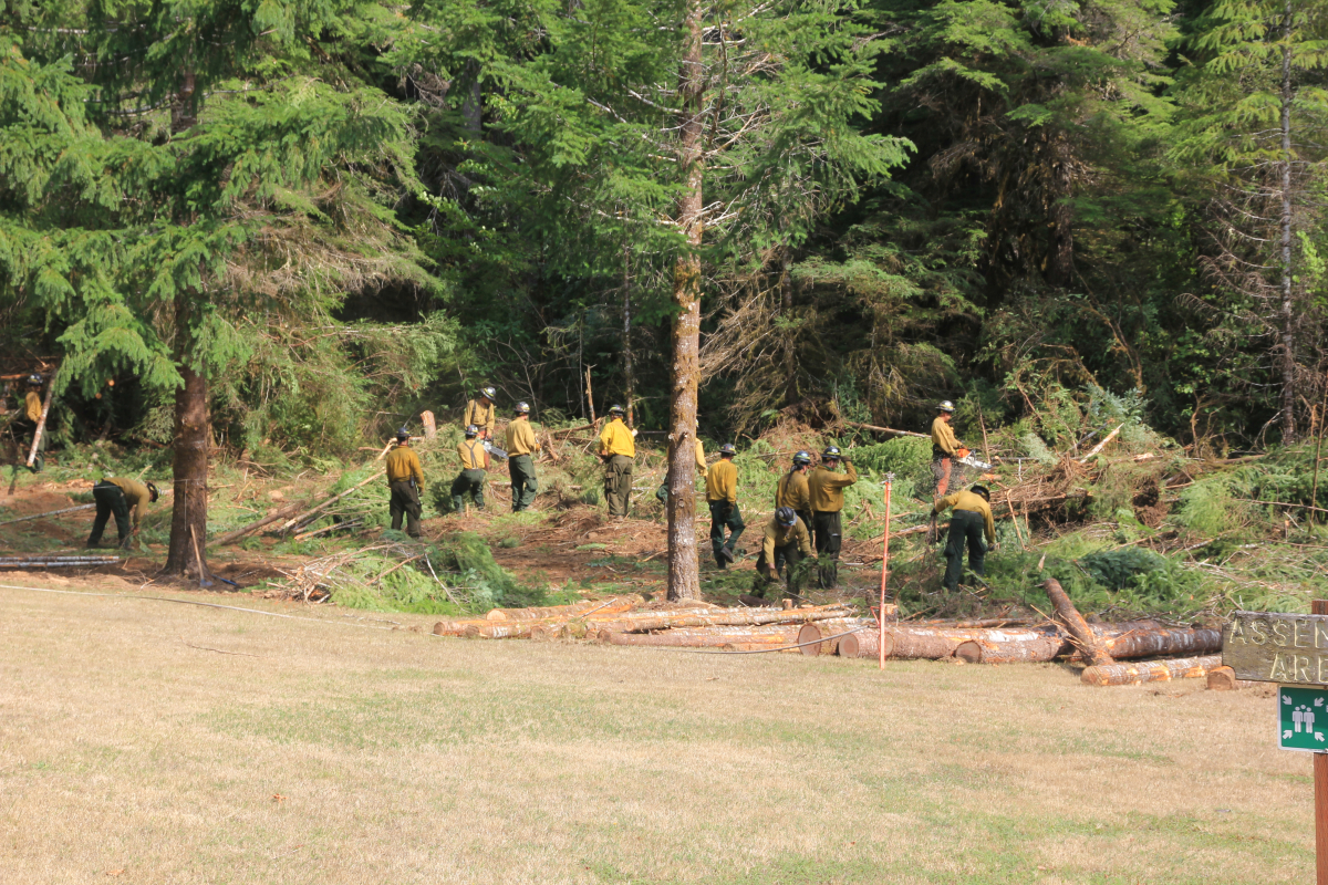 fire crews work fire line at Andrews Forest headquarters