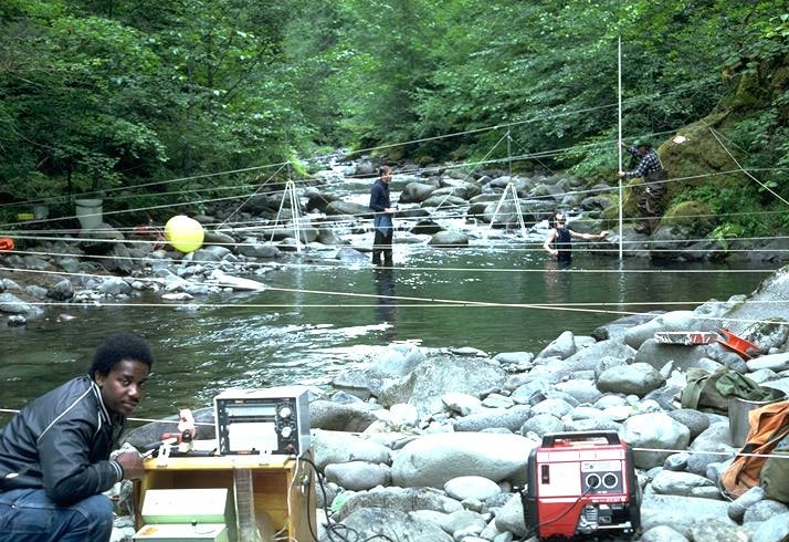 Otis Hinton, Neil Cane, Craig Creel, Gordon Grant, Dennis Harr and Ross Mersereau doing measurements for pool retention work on Lookout Creek.