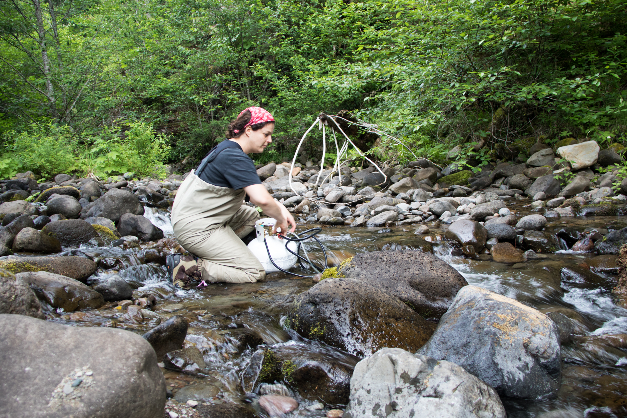 measuring gas exchange in a stream