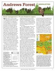 Andrews Forest Newsletter Spring/Summer 2018 cover